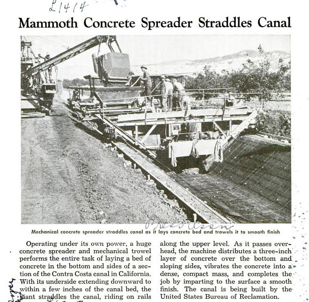 Contra Costa Canal Construction Featured in 1942 Popular Mechanics Magazine