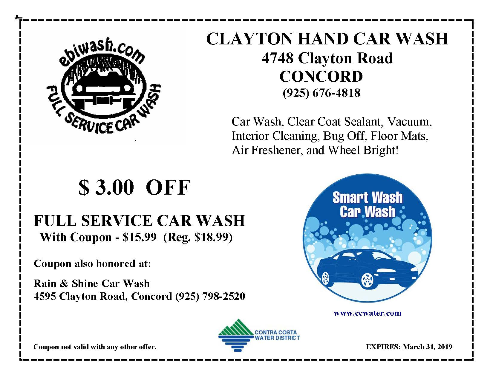 Car Wash Coupons Contra Costa Water District Ca