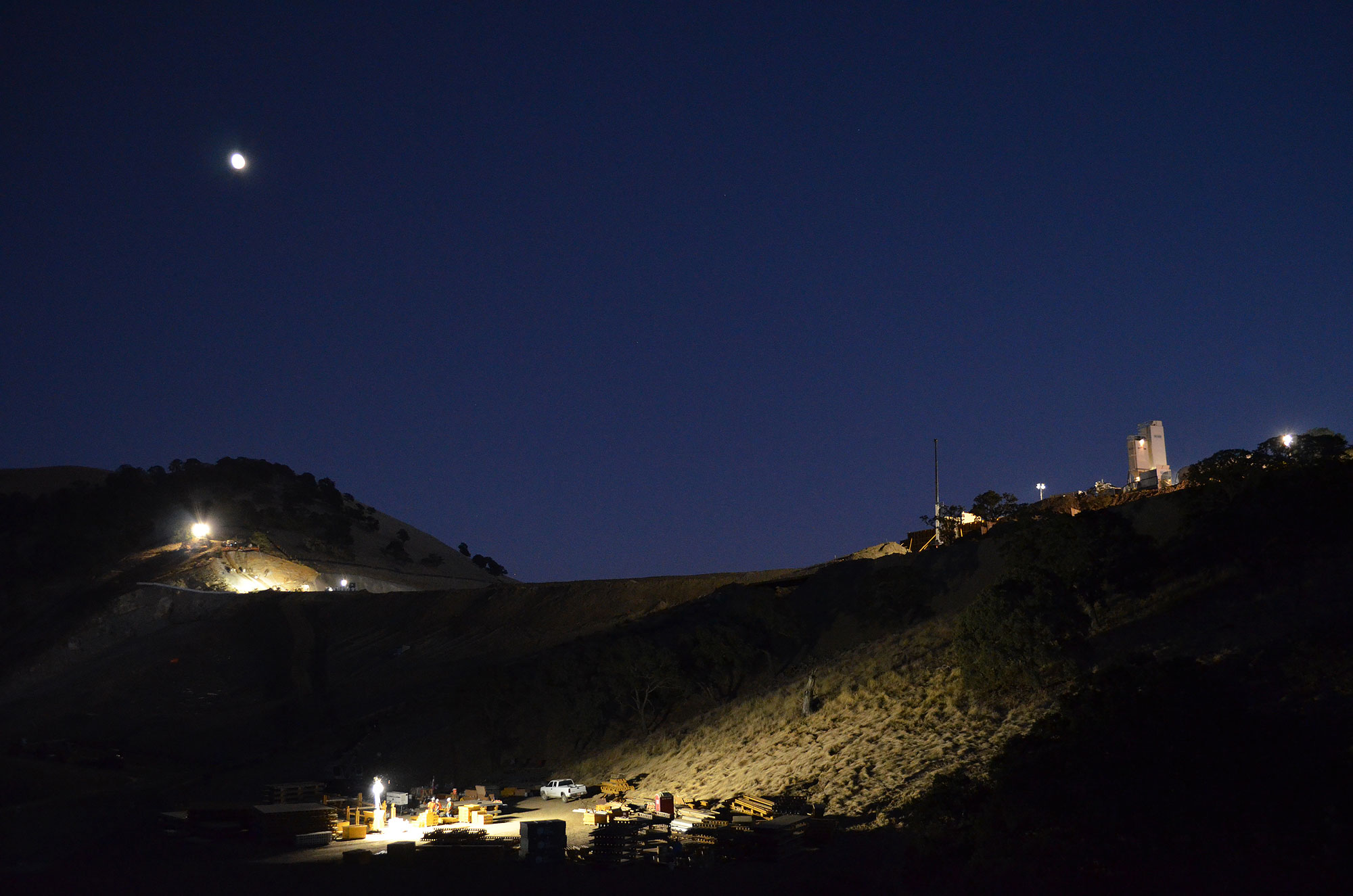 The moon shines over the Los Vaqueros